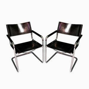 Armchairs with Tubular Frames, Set of 2