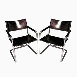 Armlehnstühle mit Gestell aus Stahlrohr, 2er Set