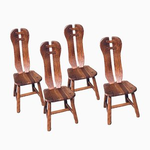 Brutalist Oak Dining Chairs from De Puydt, Belgium, 1960s, Set of 4