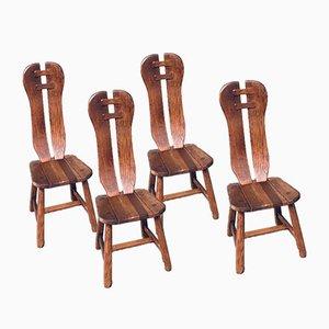 Brutalistische Esszimmerstühle aus Eiche von De Puydt, 1960er, Set of 4