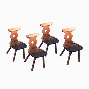Brutalist Hard Wood Dining Chairs from Vervoort, 1960s, Set of 4