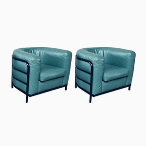 Postmodern Onda Leather Chair Set by De Pas, Durbino, Lomazzi for Zanotta, Italy, 1985, Set of 2