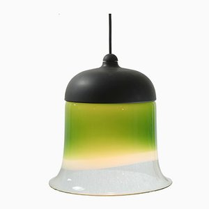 Lampada a sospensione a campana in vetro di Peill & Putzler, anni '60