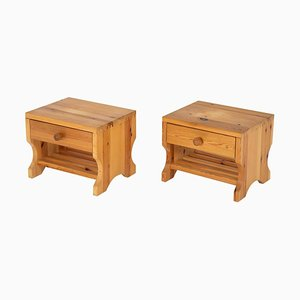 Mid-Century Scandinavian Pine Nightstands, Set of 2