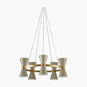 Lámpara de araña sueca Mid-Century de metal y latón de Alf Svensson para Bergboms