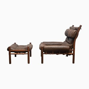 Swedish Brown Leather Inca Chair and Ottoman by Arne Norell for Möbler Ab, Set of 2