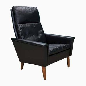 Mid-Century Danish Black Leather Armchair, 1960s