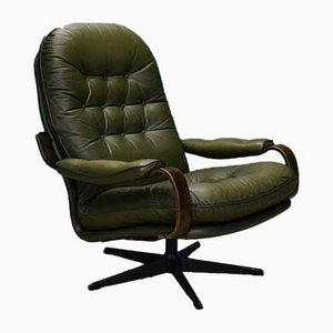 Mid-Century Danish Green Leather Swivel Armchair, 1970s