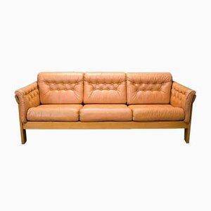Mid-Century Danish Pale Tan Leather Sofa, 1970s