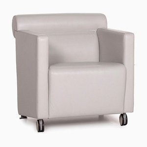 Gray Leather Armchair by Poltrona Frau