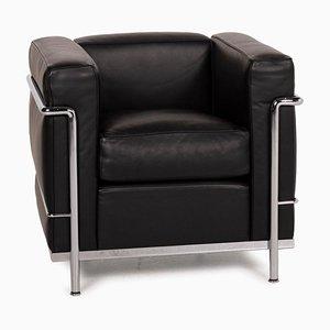 Schwarzer LC2 Ledersessel von Le Corbusier für Cassina