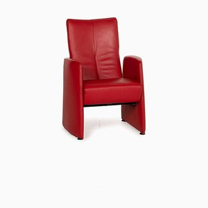 Leolux Red Leather Armchair with Relaxation Function
