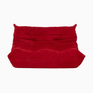 Togo Red Suede Modular Two Seater Sofa by Michel Ducaroy for Ligne Roset
