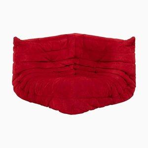Canapé d'Angle Togo en Daim Rouge par Michel Ducaroy pour Ligne Roset