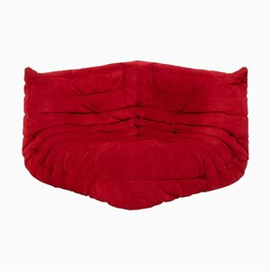 Togo Red Suede Corner Sofa by Michel Ducaroy for Ligne Roset