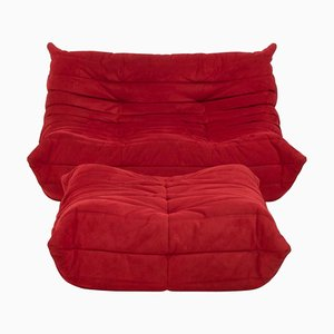 Togo Red Suede Sofa and Footstool by Michel Ducaroy for Ligne Roset, Set of 2