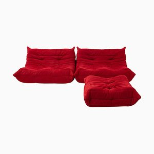 Togo Red Modular Sofas and Footstool by Michel Ducaroy for Ligne Roset, Set of 3