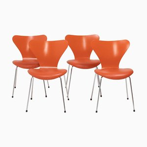 Orange Leather Series 7 Chairs by Arne Jacobsen for Fritz Hansen, Set of 4