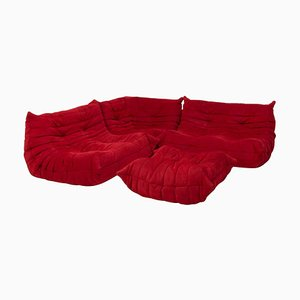 Togo Red Modular Sofa and Footstool by Michel Ducaroy for Ligne Roset, Set of 4