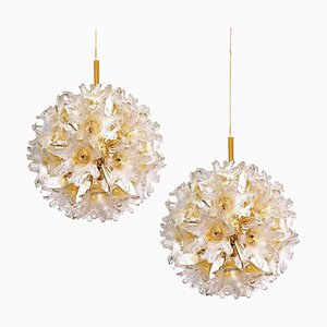 Brass Gold Murano Glass Sputnik Light Fixtures by Paolo Venini for Veart, Set of 2