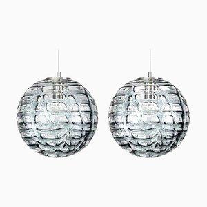 Graue Murano Glas Hängelampen im Venini Stil, 1960er, 2er Set