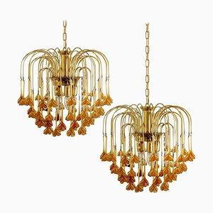 Lámparas de araña Estilo Venini con flores de cristal de Murano naranja incinerado. Juego de 2