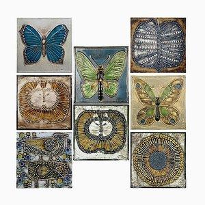 Keramikfliesen von Lisa Larson für Gustavson, 1970er, 8er Set