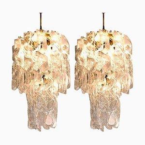 Lámparas de araña Torciglione grandes de latón en blanco y cristal de Murano, años 60. Juego de 2