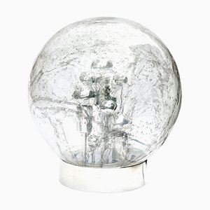 Chrome Large Smoked Bubble Glass Globe Table Lamp from Doria, 1970s