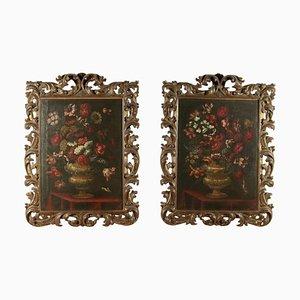 Stilleben mit Vase mit Blumen und Vögeln, Öl auf Leinwand, 2er Set