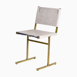 Grey and Brass Memento Chair by Jesse Sanderson