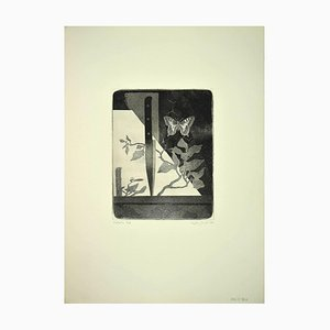 Leo Guida, Butterfly and Knife, Original Etching, 1970