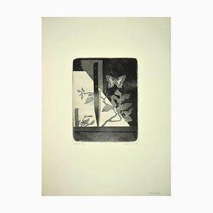 Leo Guida, Schmetterling & Messer, 1970er Originale Radierung