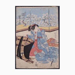 Escena de teatro Kabuki Utagawa Toyokuni II, impresión Original Woodblock, alrededor de 1810