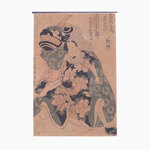 Utagawa Toyokuni I, Man with the Dragon, Original Woodblock Print, Circa 1800