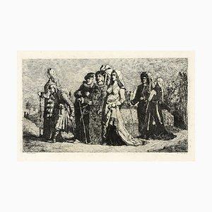 Aguafuerte original Jean Vandekerkhove, wedding procession, 1860
