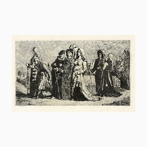 Jean Vandekerkhove, Wedding Procession, Original Etching, 1860