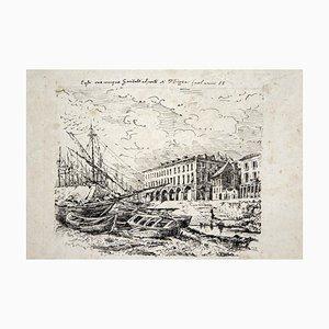 Garibaldis Haus, Original Lithographie, spätes 19. Jahrhundert