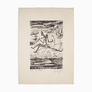 Maurice Crozet, Don Quixote, Originale Lithographie, Mitte 20. Jahrhundert