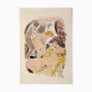 Mariette Lydis, Erotic Scene, Original Hand-Colored Lithograph, 1939