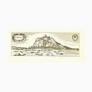 Bettino Craxi, Karte von Radicofani, Original Radierung, spätes 20. Jahrhundert