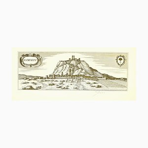Bettino Craxi, Map of Radicofani, Original Etching, Late 20th Century
