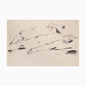 Tibor Gertler, Nude, dibujo original de tinta china, 1948