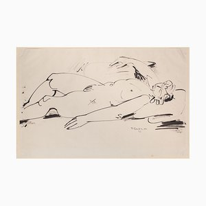 Tibor Gertler, Nude, Original China Ink Drawing, 1948