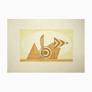 Lucio Del Pezzo, Composition, Original Etching, Late 20th Century