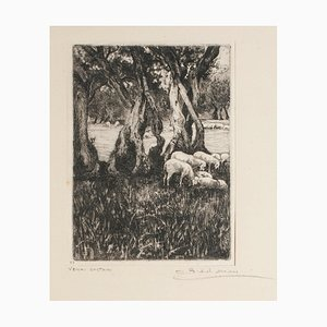 Giordano Belardinelli, Landscape, Original Etching by Giordano Belardinelli, Mid-20th Century