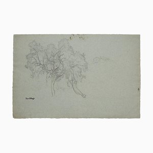 Marcel Mangin, Trees, Original Pencil Drawing, Mid-20th Century