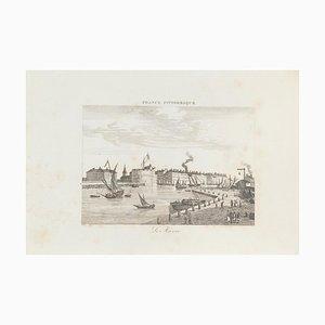 Ansicht von Le Havre, Originale Lithographie, 19. Jahrhundert