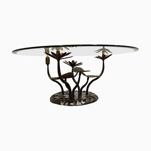 Brass Lotus Coffee Table by Willy Daro, 1970s