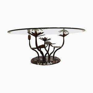 Mesa de centro Lotus de latón de Willy Daro, años 70